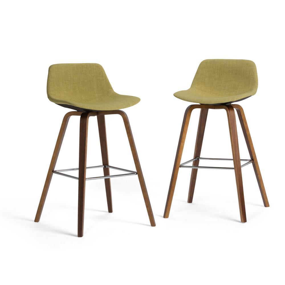 Randolph 36.61 in. Acid Green Linen Look Fabric Mid Century Modern Bentwood Counter Height Stool (Set of 2)