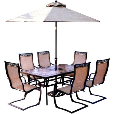 Monaco 7-Piece Outdoor Dining Set with Rectangular Tile-Top Table and Contoured Sling Spring Chairs, Umbrella and Base
