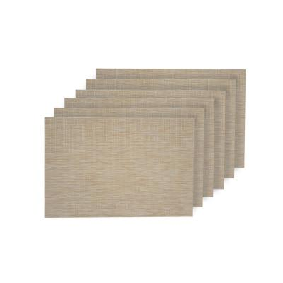 Natural Shimmer Ivory Woven Textilene Reversible Rectangle Placemats (Set of 6)