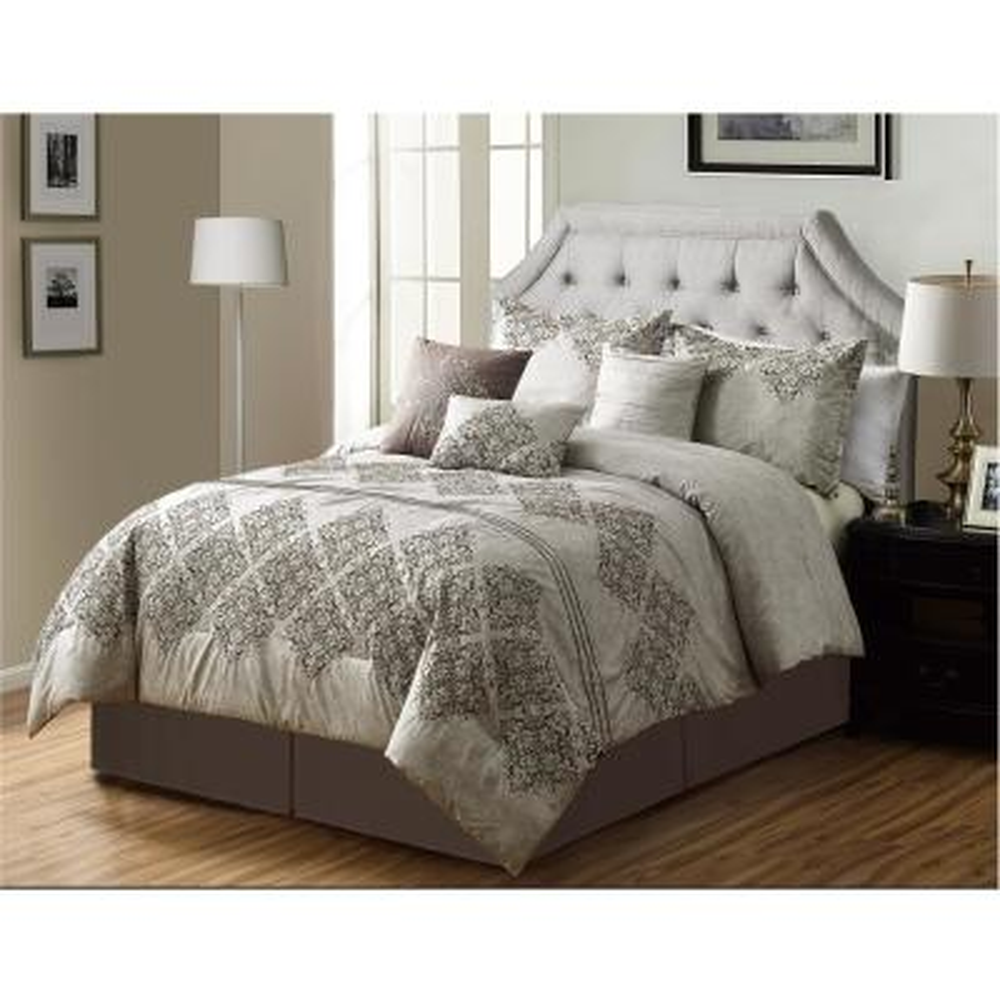 MHF Home Laila Medallion 7-Piece Brown California King Comforter Set