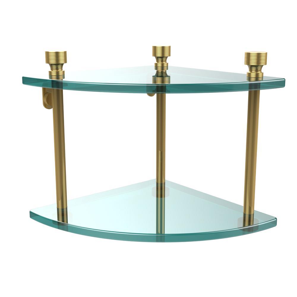 Foxtrot 8 in. L  x 8 in. H  x 8 in. W 2-Tier Corner Clear Glass Bathroom Shelf in Unlacquered Brass