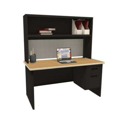 Black and Oak Haze 60 in. Single File Desk with Storage Shelf