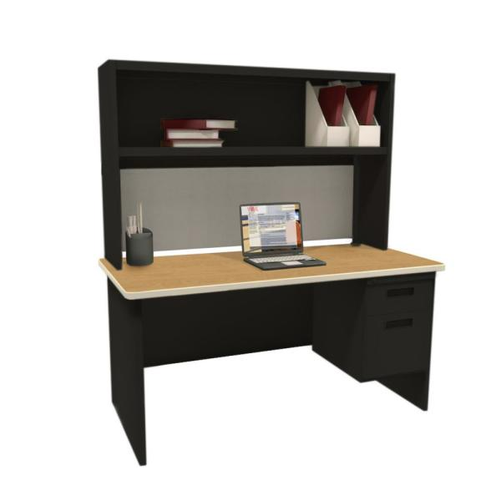 Pronto Black and Oak Haze 60 in. Single File Desk with
