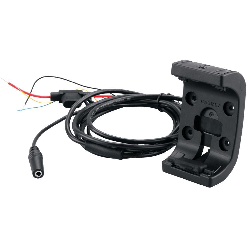 Garmin Amps Rugged Mount with Audio/Power Cable for Montana GPS Devices Mount your Montana or Monterra on your motorcycle or ATV. Kit includes mount and hardware. This kit also includes a cable with bare power/audio/data wires as well as anti-glare screen protectors.