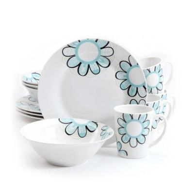 Lush Blossom 12-Piece White Dinnerware Set