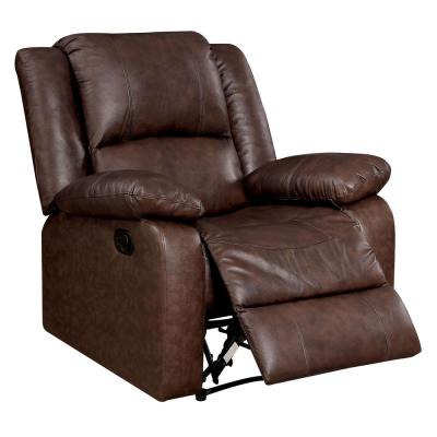 Kris Transitional Style Brown Leather Recliner