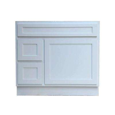 36 in. W x 21 in. D x 32.5 in. H 2-Left Drawers Bath Vanity Cabinet Only in White