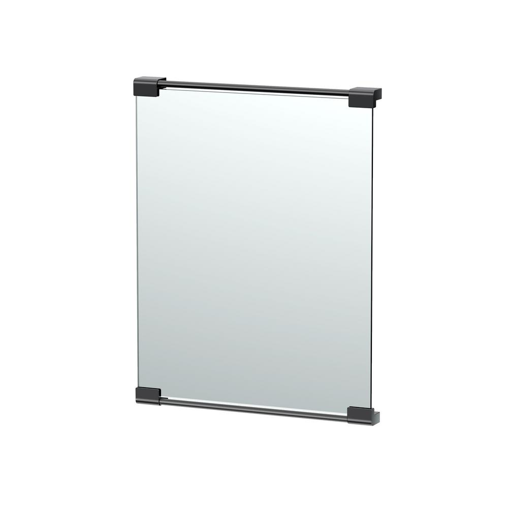 Gatco 20 in. x 25 in. Framed Single Wall Mounted Landscape Mirror in Matte Black