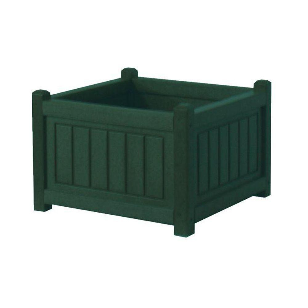 Eagle One Nantucket 17 in. x 17 in. Green Recycled Plastic Commercial Grade Planter Box