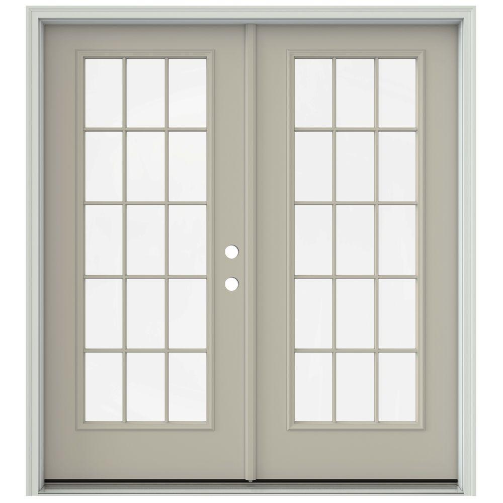 Jeld wen 72 in x 80 in primed steel right hand outswing for Outswing french doors home depot