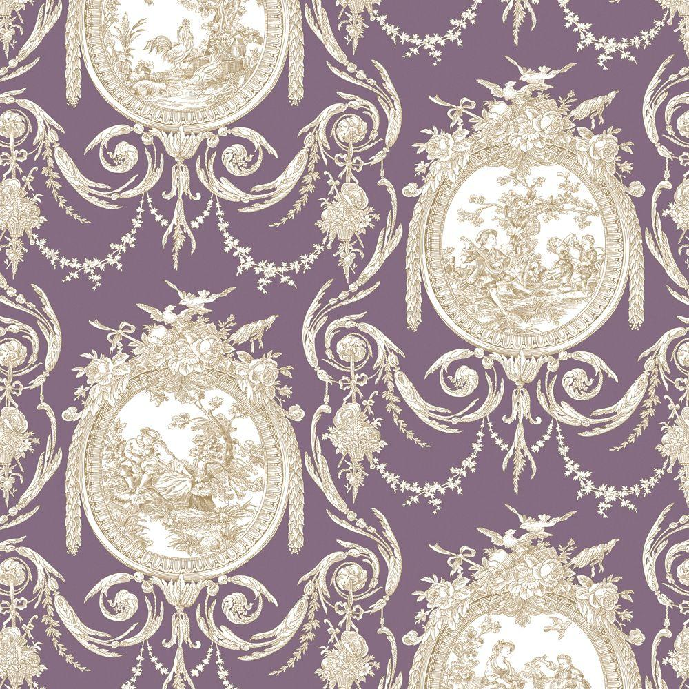The Wallpaper Company 56 sq. ft. Cameo Toile Purple Wallpaper