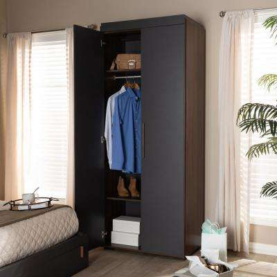Rikke 20 in. D x 32 in. W x 81 in. H Gray Wooden Freestanding Particle Board 7-Shelves Closet System