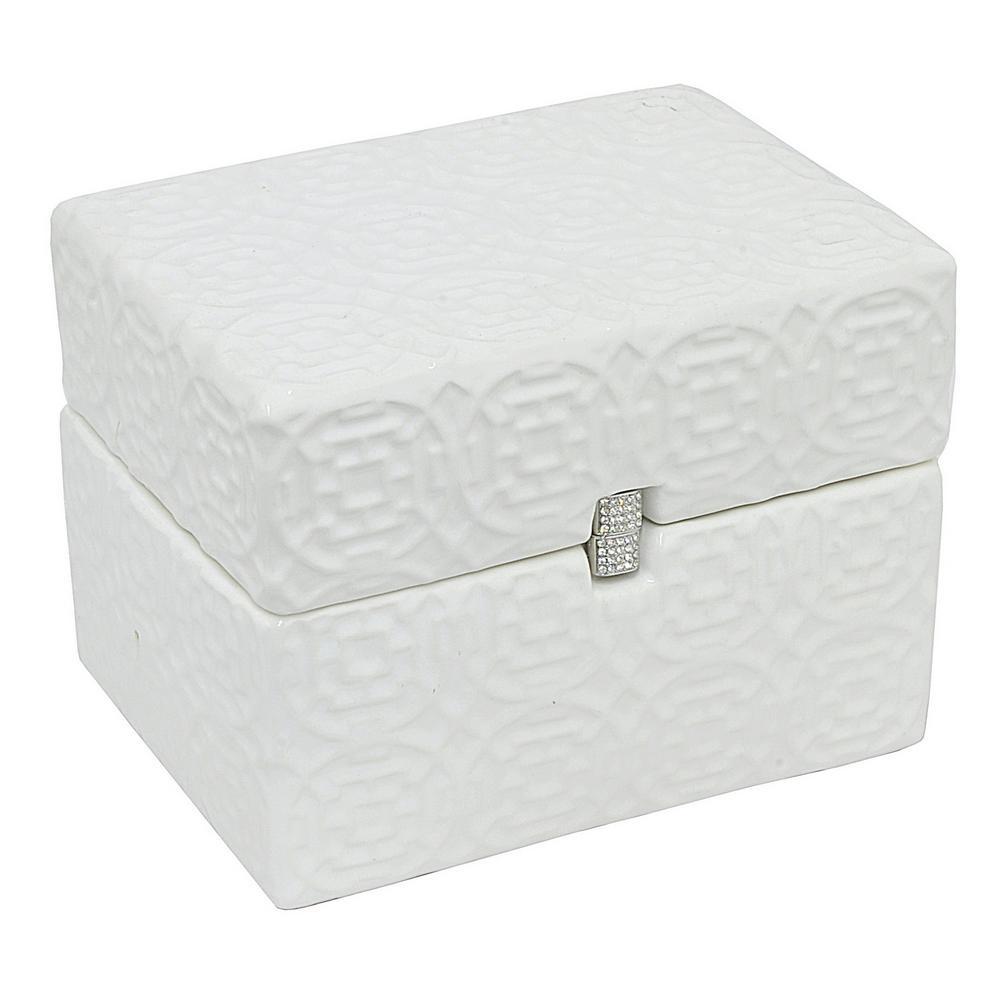 6 in. Ceramic Covered Box in White