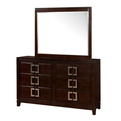 40 in. H x 62 in. W x 17 in. D Balfour Brown Cherry Dresser and Mirror Set 6-Drawers