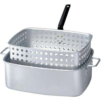 15 qt. Aluminum Rectangular Fry Pan with Two Helper Handles and Punched Aluminum Basket