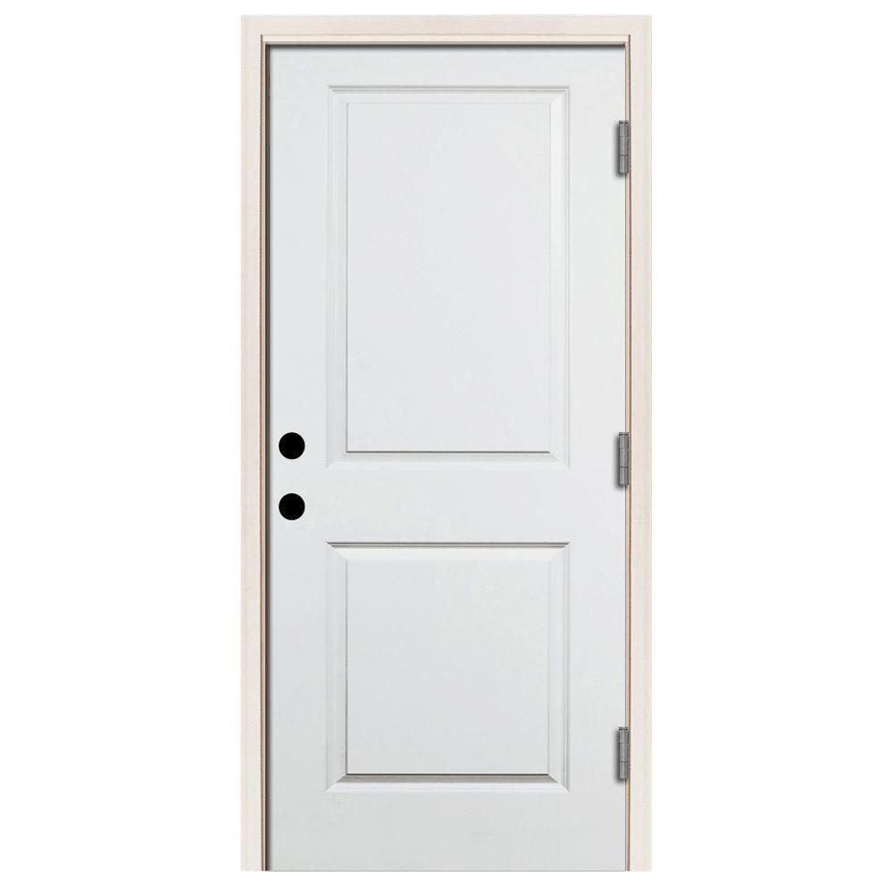 Steves & Sons 36 in. x 80 in. Premium 2-Panel Square Primed White Steel Prehung Front Door w/ 36 in. Left-Hand Outswing and 4 in. Wall