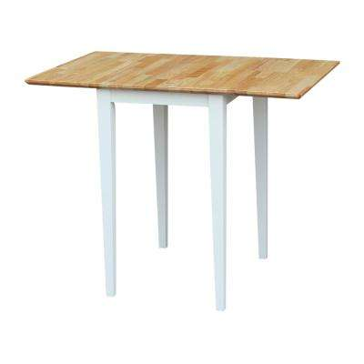White and Natural Drop Leaf Extendable Dining Table