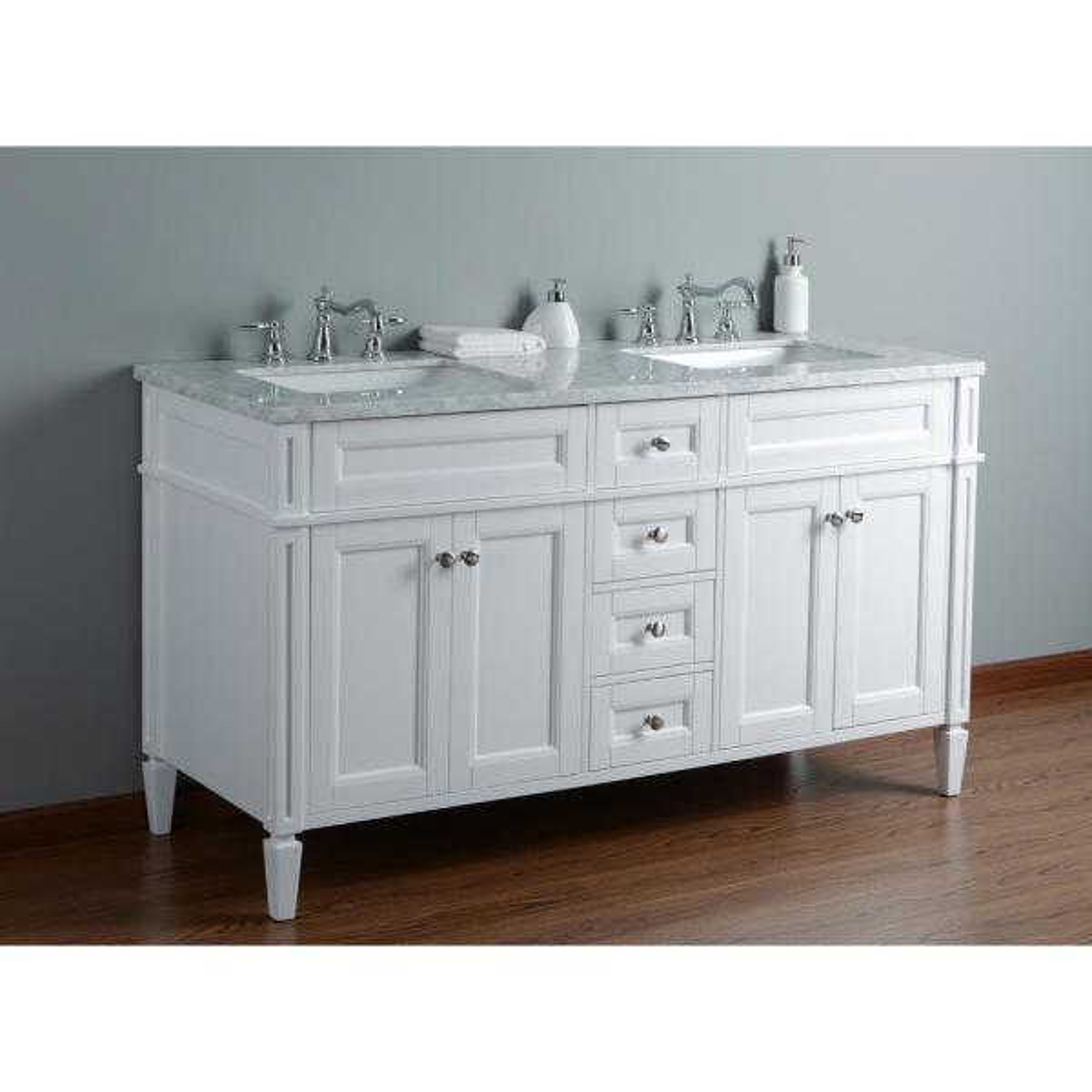 White Double Sink Bathroom