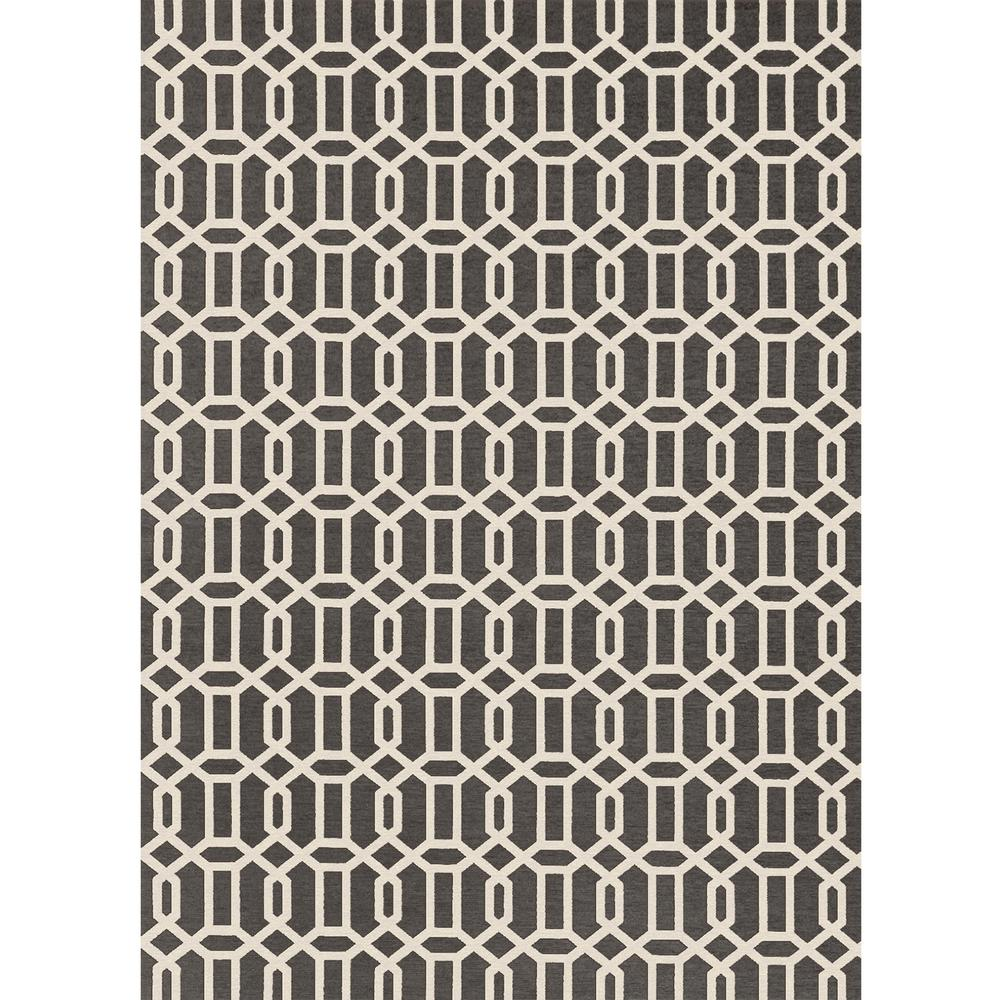 Ruggable Washable Fretwork Rich Grey 5 Ft X 7 Stain