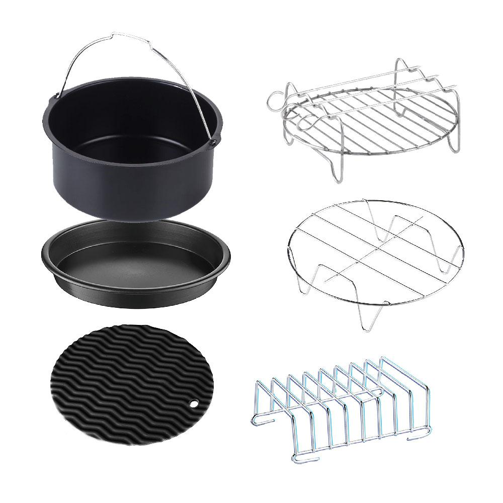 6-Piece Universal XL Air Fryer Accessory Set, Multi This universal 6-piece accessory set fits all manufacturers sizes 3.7 Qt. to 5.8 Qt. Air Fryers. The set includes a 7 in. baking pan, 7 in. pie/pizza pan, insert rack, insert rack with 3-skewers and a toasting/warming rack. Plus a silicone resting mat/pot holder. Color: Multi.