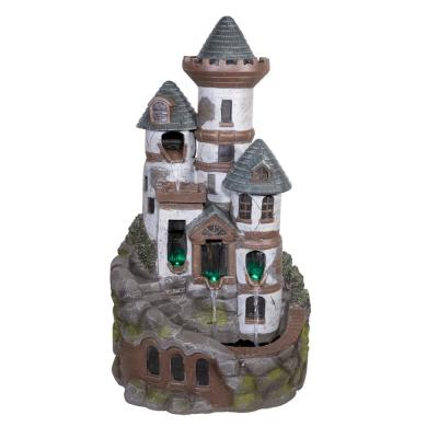 35 in. Tall Outdoor Tower Castle Fountain with Color Changing LED Lights Yard Art Decoration