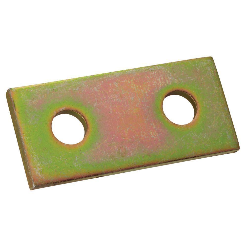 2-Hole Flat Straight Strut Bracket - Gold Galvanized (Case of 10)