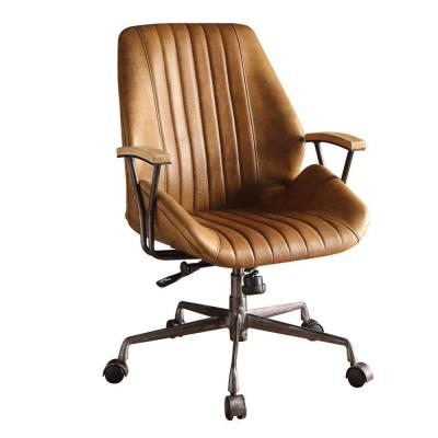 Coffee Brown Metal and Leather Executive Office Chair