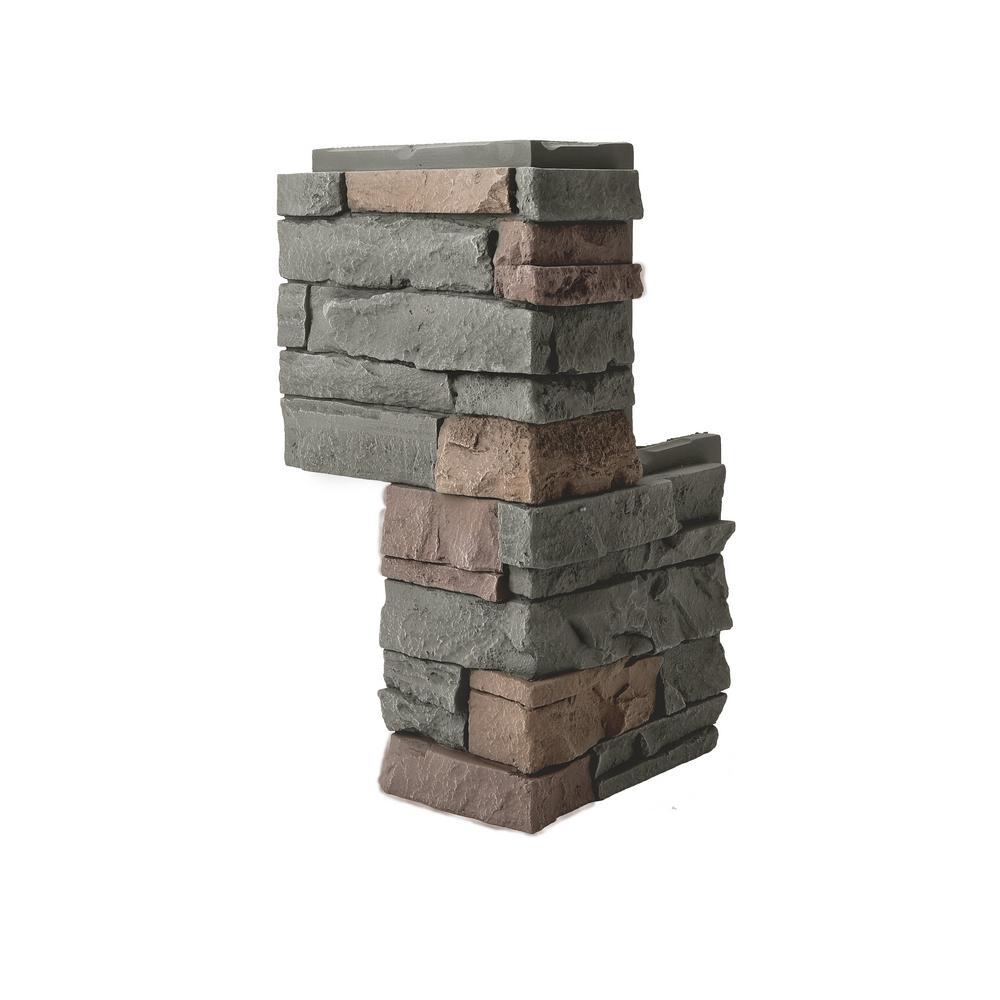 Stacked Stone Keystone 24 in. x 12 in. Faux Stone Siding Outside Corner Panel
