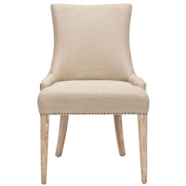 Safavieh Becca Antique Gold and Brown Linen Bicast Leather Dining Chair
