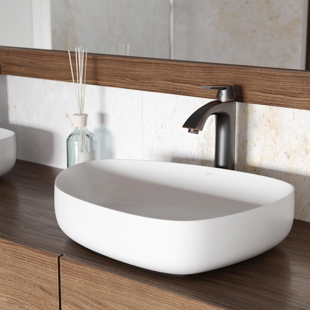 Vigo peony matte stone vessel sink in white with linus for Antique stone sinks for sale