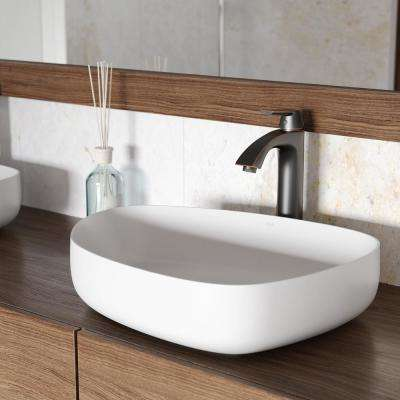 Peony Matte Stone Vessel Sink in White with Linus Vessel Faucet in Antique Rubbed Bronze