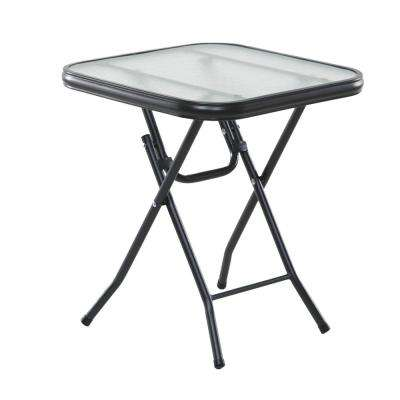 Basics 16 in. Square Clear Glass Folding Side Table