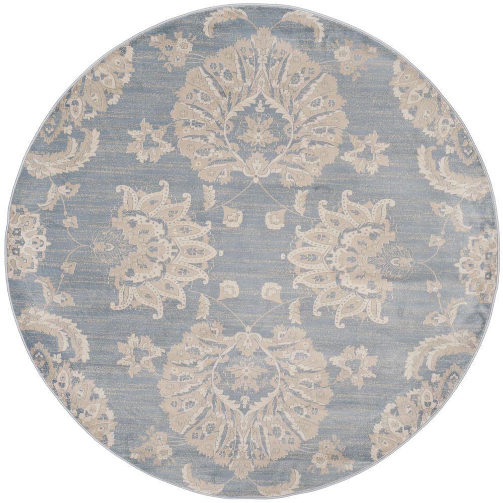 safavieh vintage light blue ivory 6 ft 7 in x 6 ft 7 in round area rug vtg578l 7r the home. Black Bedroom Furniture Sets. Home Design Ideas