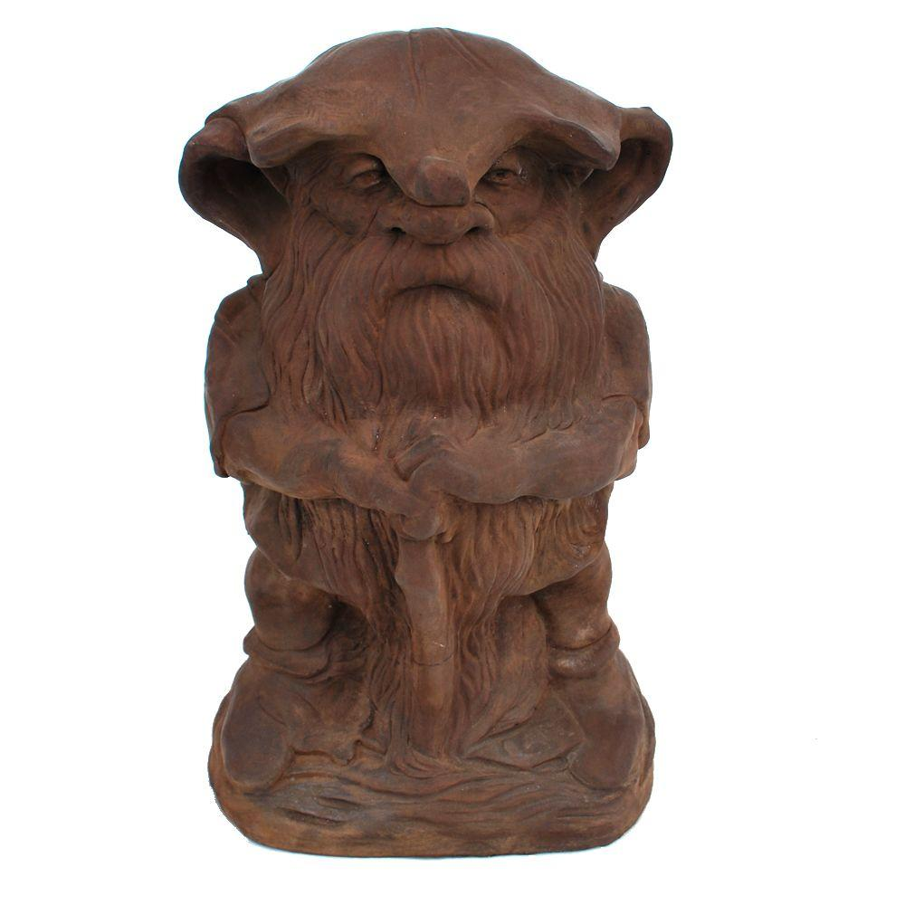 null Cast Stone Large Rainman Garden Statue Dark Walnut