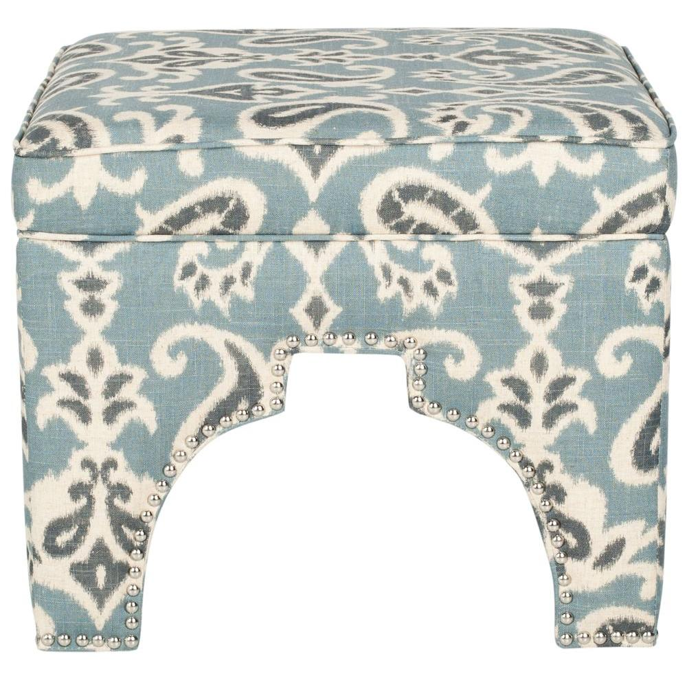 Grant Blue, Grey and Off White Accent Ottoman