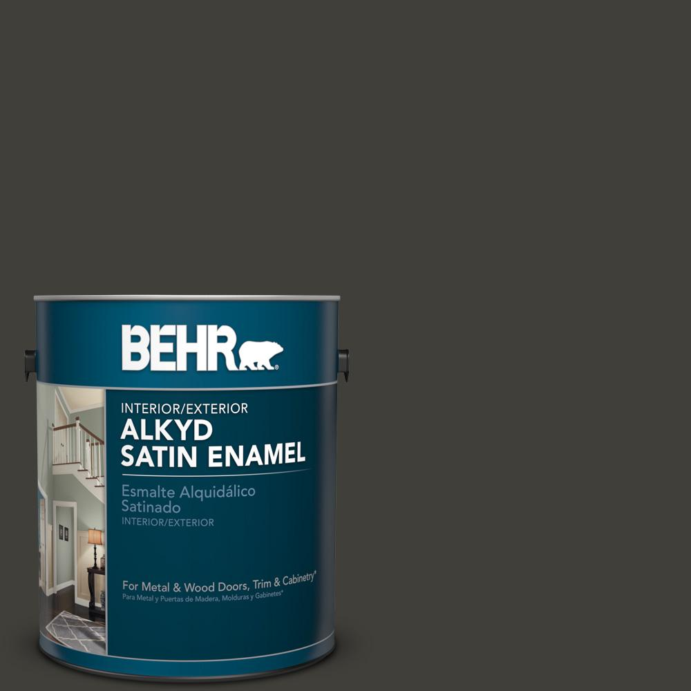 1 gal. #S-H-790 Black Suede Satin Enamel Alkyd Interior/Exterior Paint