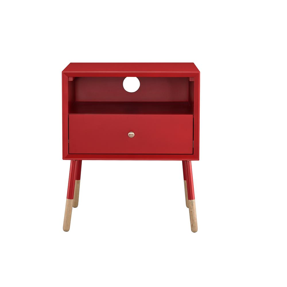 Sonria II Red and Natural End Table