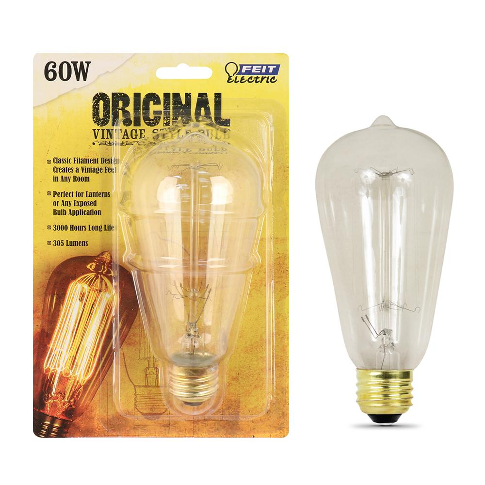 Feit Electric 60W Equivalent ST19 Dimmable Incandescent Amber Glass Vintage Edison Light Bulb With Cage Filament Soft White