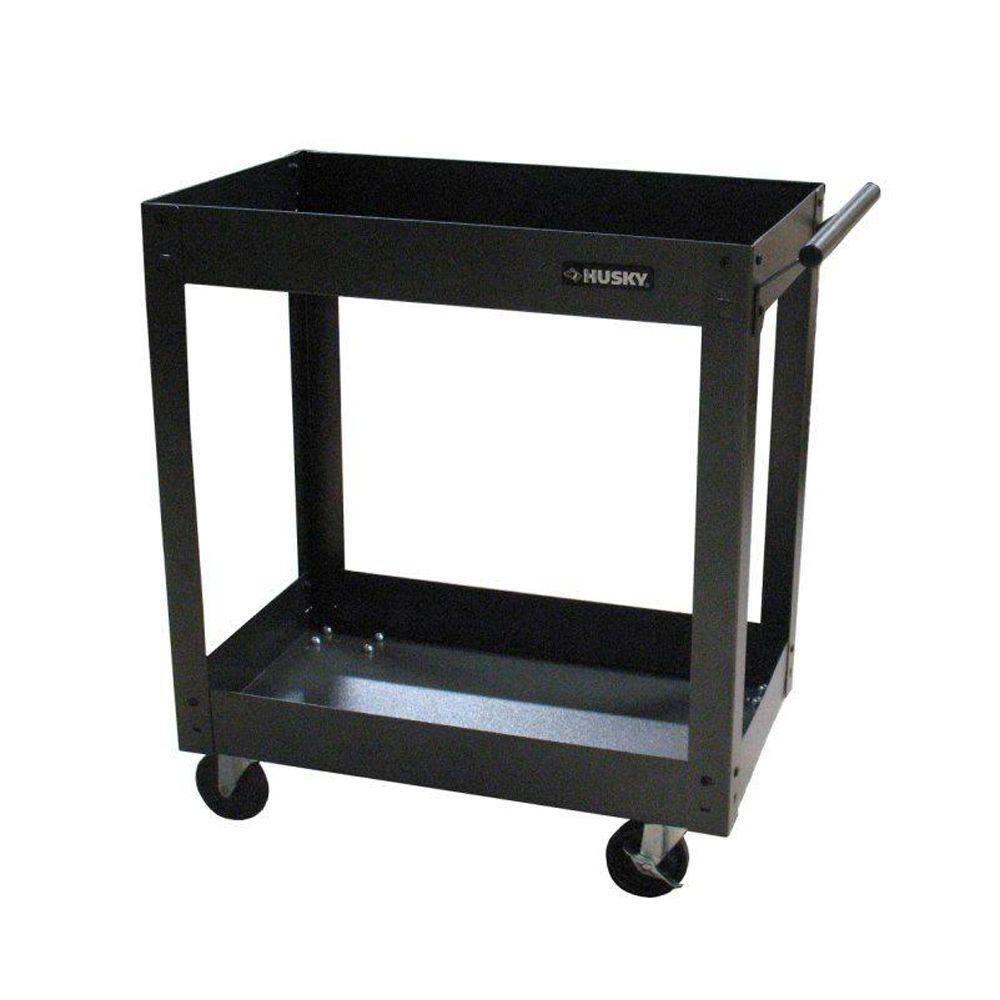 Husky Tool Cart >> 31 In W X 16 In D 2 Tray Utility Cart
