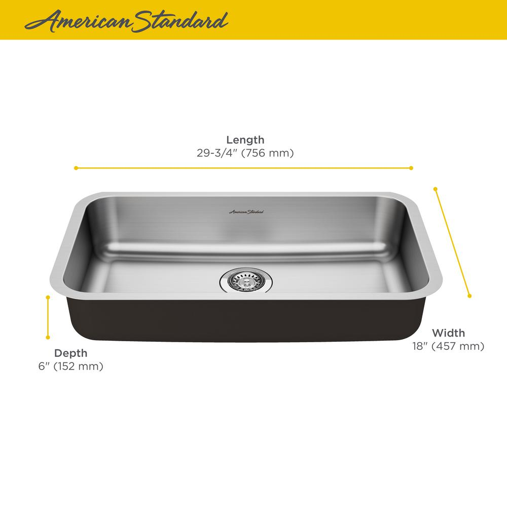 American Standard Portsmouth Undermount Stainless Steel 30 in. ADA Single  Bowl Kitchen Sink