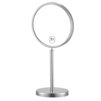 Glimmer 8 in. x 8 in. Free Standing LED 3x Round Makeup Mirror in Chrome