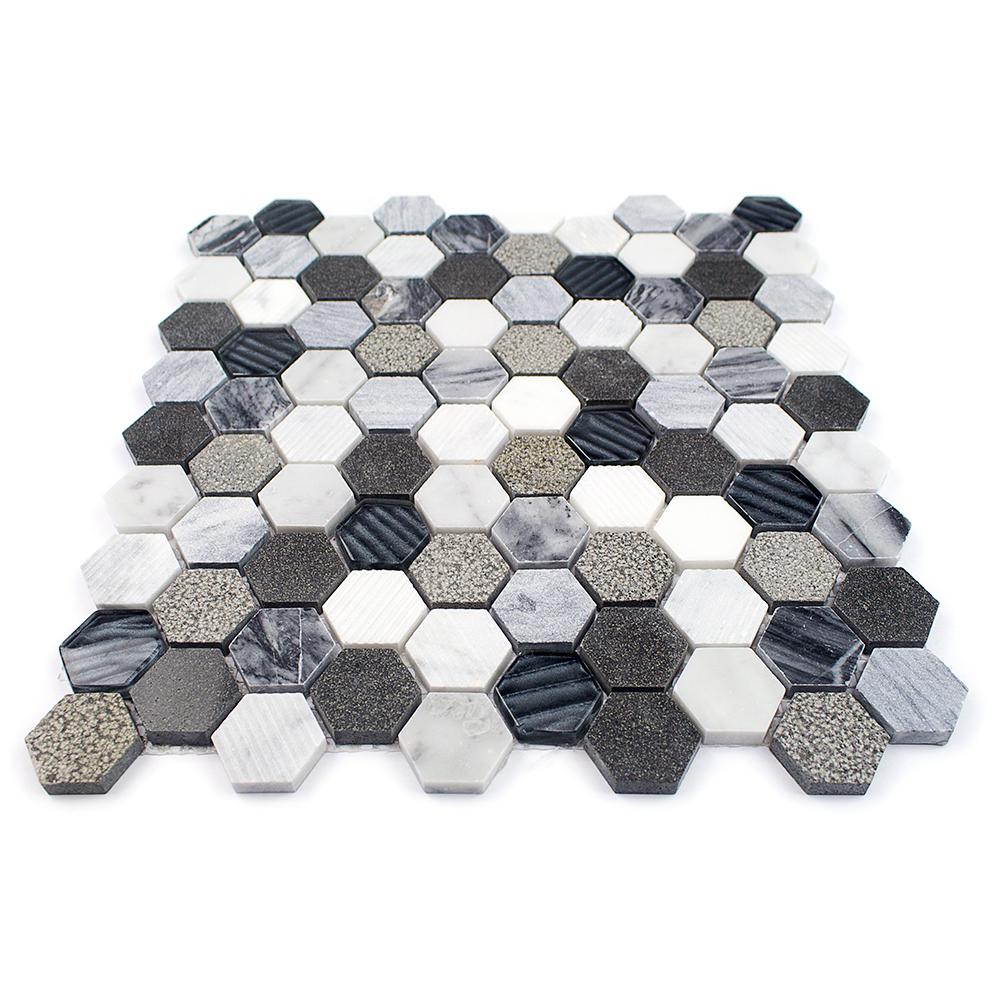 Splashback Tile Drumlin Oxford Gray Hexagon 11.25 in. x 10.87 in. x 8mm Honed Marble and Glass Mosaic Tile