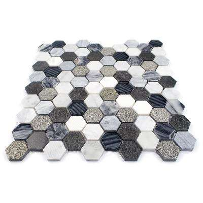 Drumlin Oxford Gray Hexagon 11.25 in. x 10.87 in. x 8mm Honed Marble and Glass Mosaic Tile