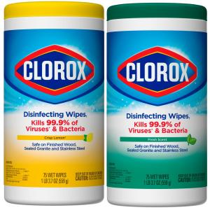 75-Count Crisp Lemon Scent and Fresh Scent Bleach Free Disinfecting Wipes (2-Pack)