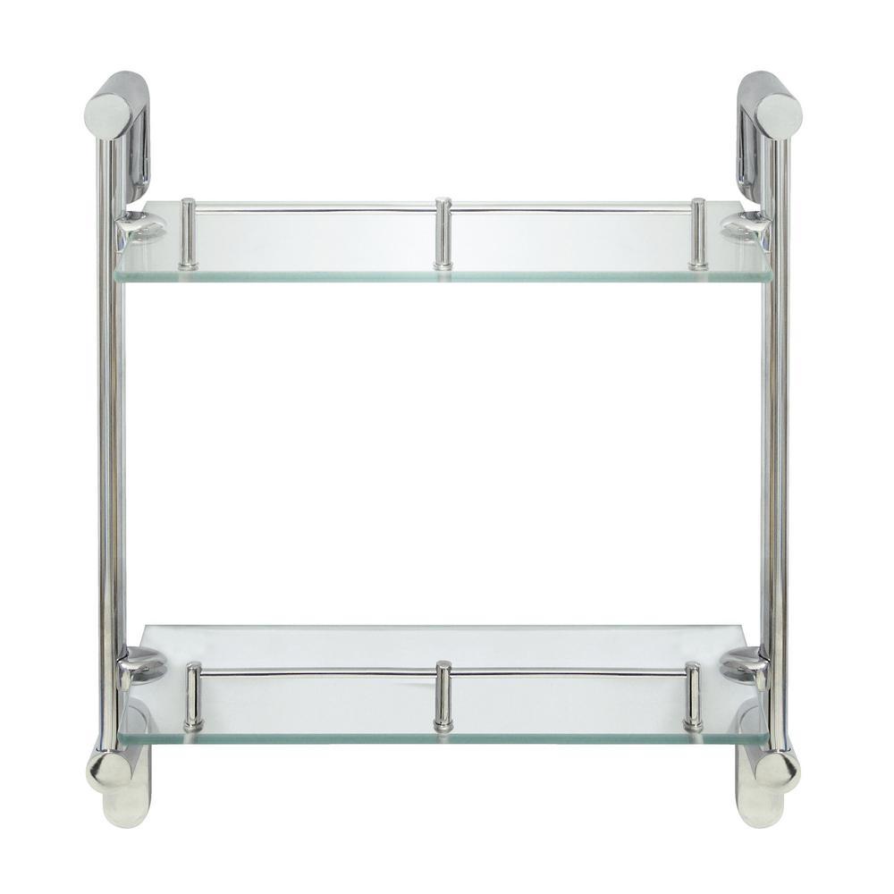 MODONA Oval 14.75 in. W Double Glass Wall Shelf with Pre-Installed ...