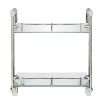 Oval 14.75 in. W Double Glass Wall Shelf with Pre-Installed Rails in Polished Chrome