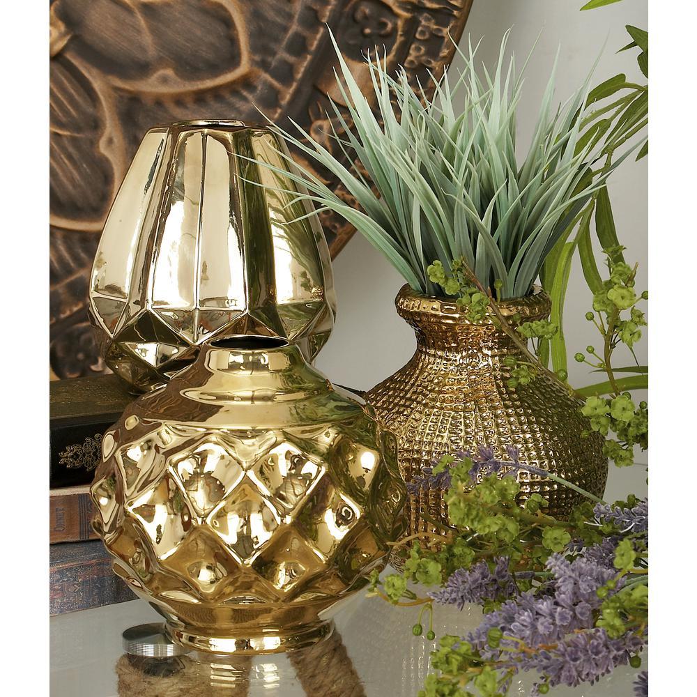 CosmoLiving by Cosmopolitan 6 in. Modern Polished Gold Ceramic Decorative Vases (Set of 3)