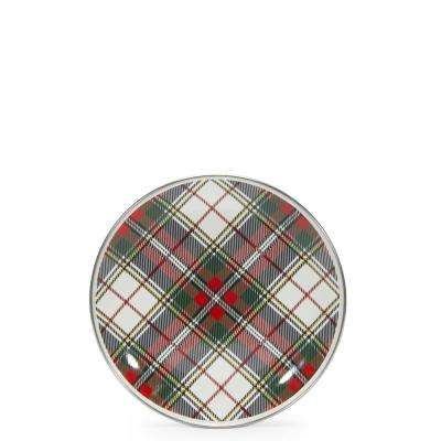 Highland Plaid 8 in. Enamelware Round Sandwich Plate