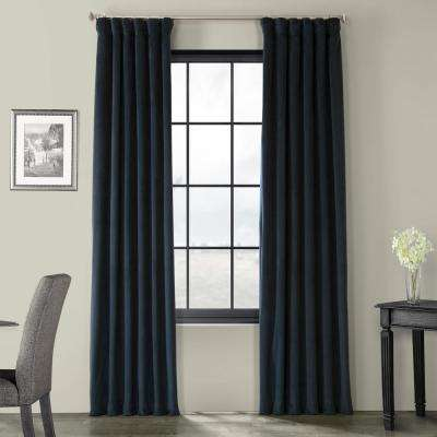 Blackout Signature Midnight Blue Blackout Velvet Curtain - 50 in. W x 96 in. L (1 Panel)