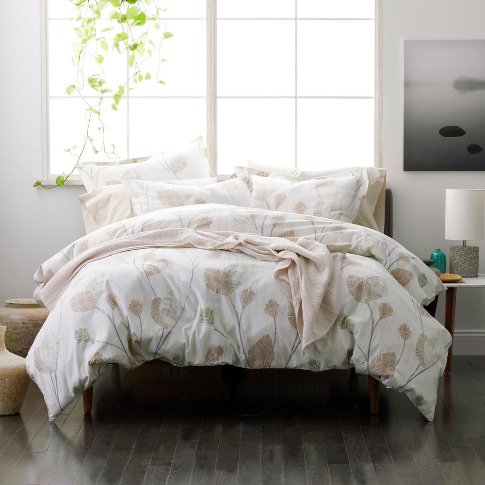 Pressed Leaves Multicolored Organic Cotton Percale Full Duvet Cover